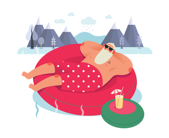 Santaclaus relaxing in swimming pool Illustration
