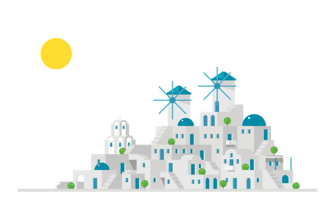 Santorini Illustration