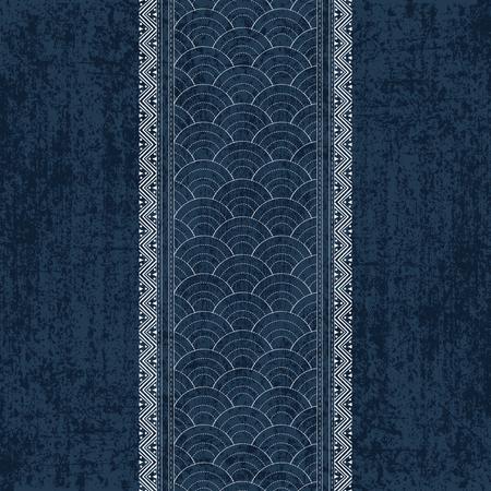 Sashiko indigo dye pattern with traditional white Japanese embroidery Illustration