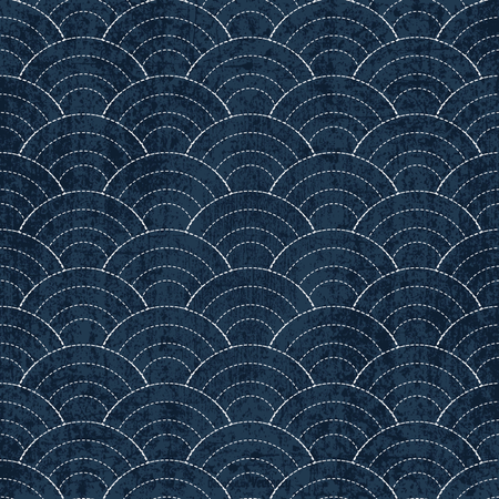 Sashiko seamless indigo dye pattern with traditional white Japanese embroidery Illustration