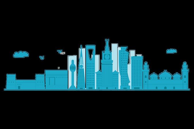 Saudi Arabia Skyline in blue silhouette Illustration