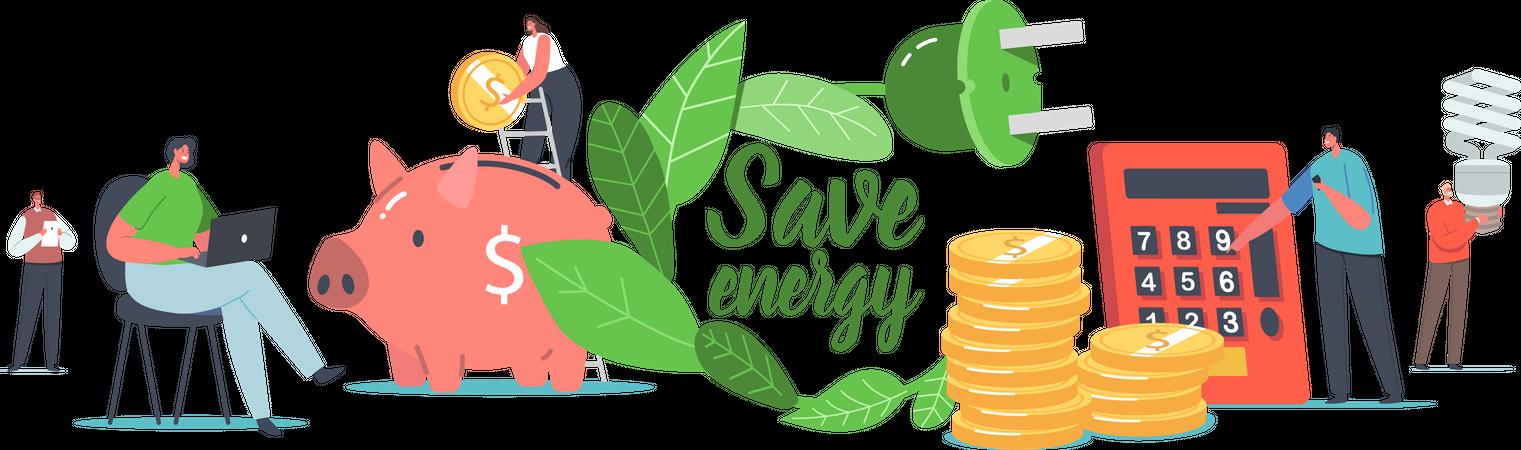 Save Energy Environmental Illustration