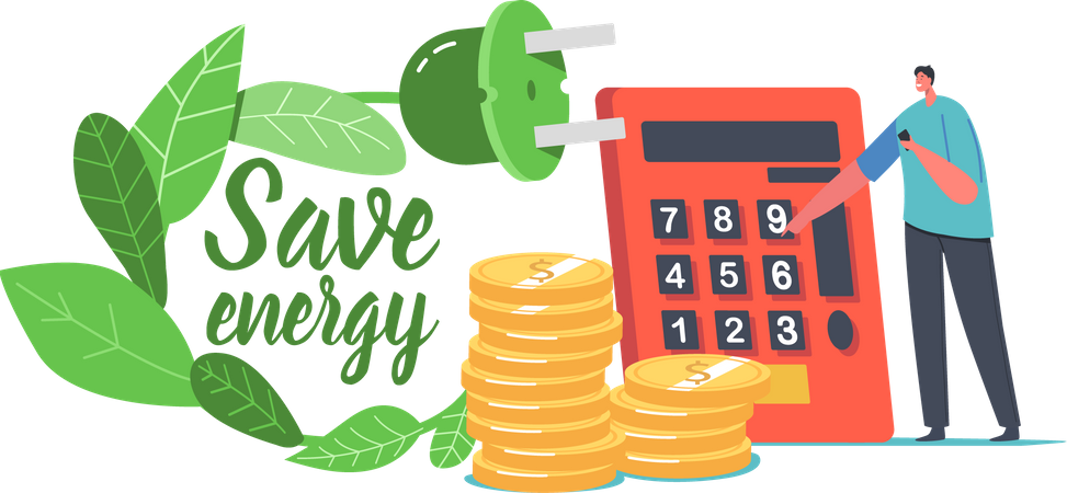 Saving Energy Calculatation Illustration