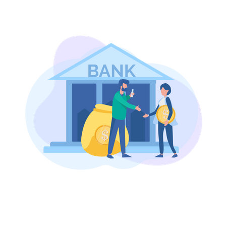 Saving money in bank is more secure Illustration
