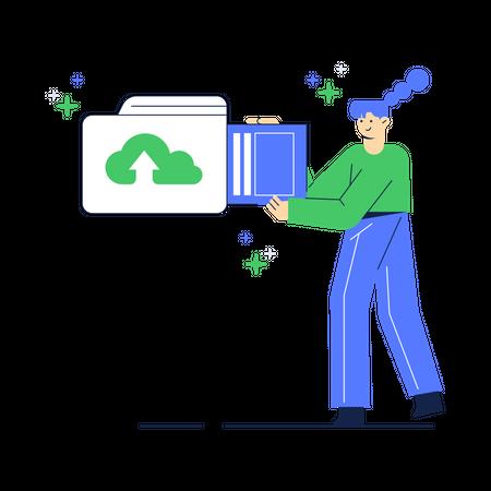 Saving or Uploading document Illustration