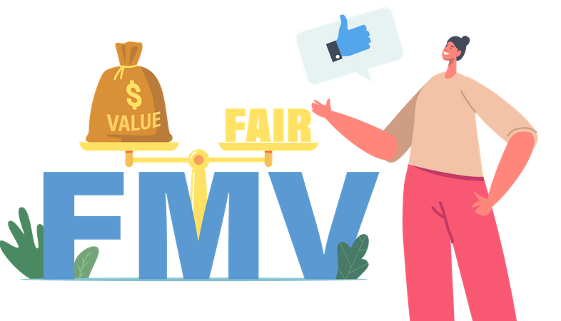 Scales Presenting Balance of Value and Fair on Market Illustration