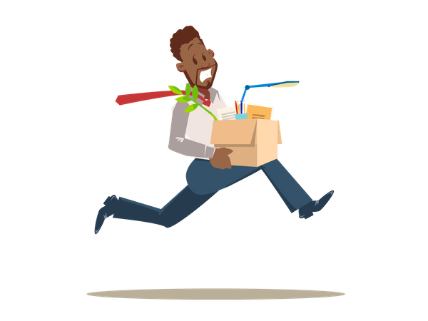 Scared Worker Running from Office Illustration