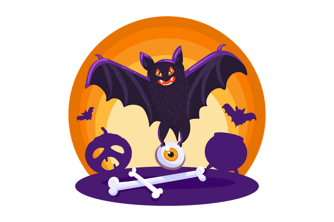 Scary Bat Illustration