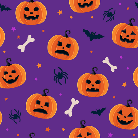 Scary pumpkins pattern Illustration