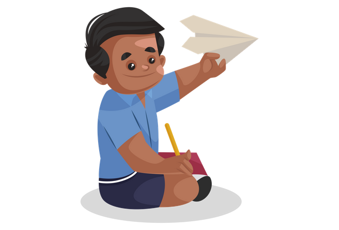 School boy flying paper plane Illustration