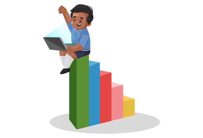 School boy is sitting on the graph and holding laptop Illustration