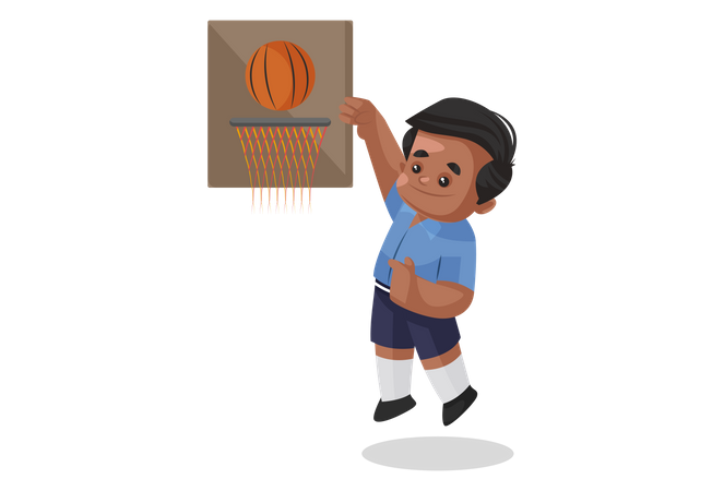 School boy playing basketball Illustration