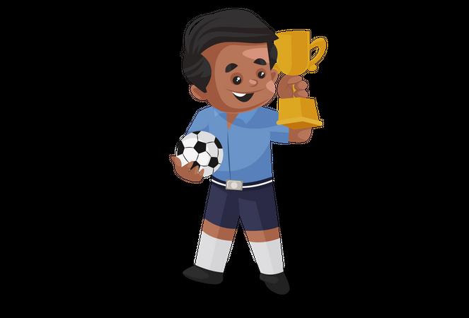 School boy win trophy in football tournament Illustration