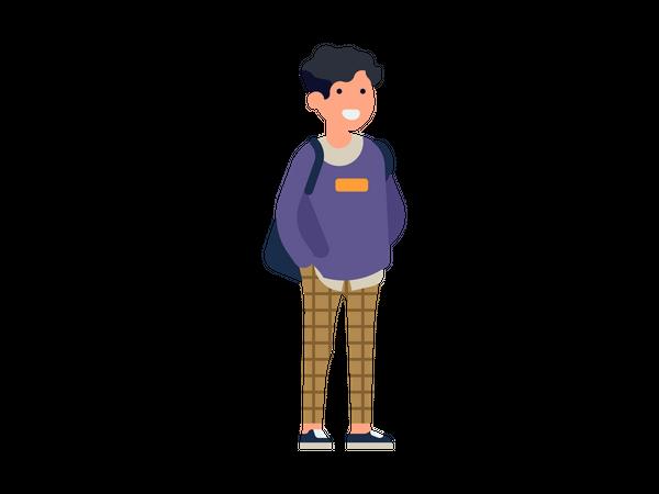 School boy with school bag Illustration