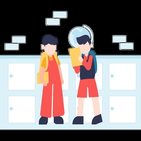 School boys talking each other Illustration