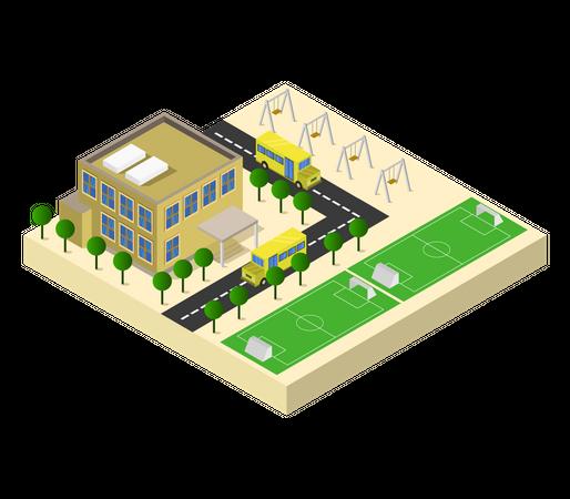 School Campus Illustration