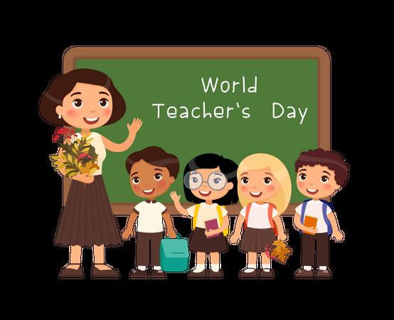 School children congratulate teacher cartoon characters Illustration