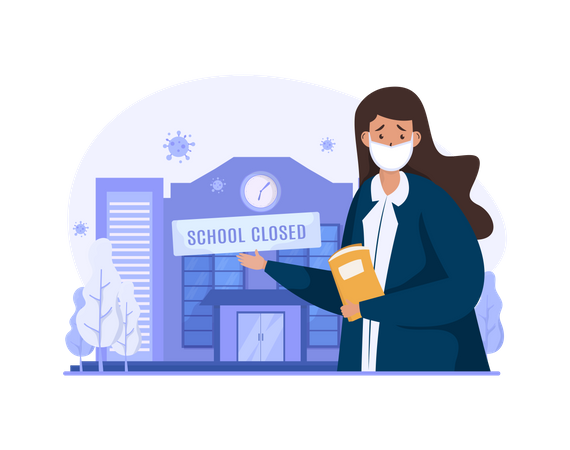 School closed during covid-19 pandemic Illustration