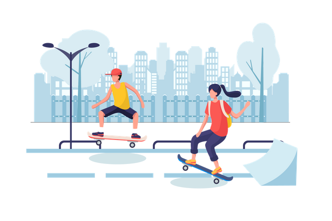 School girl and boy skate boarding at street Illustration