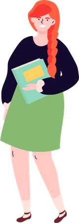 School Girl in a green skirt and black top holding her notebook Illustration