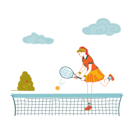 School girl playing table tennis Illustration
