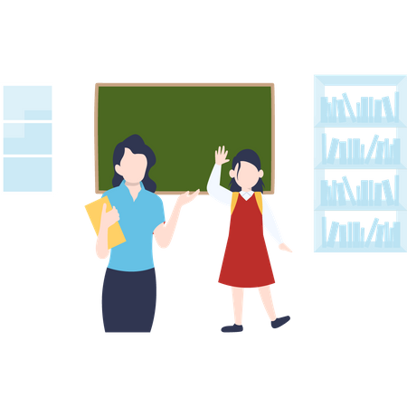 School girl saying good bye to teacher Illustration