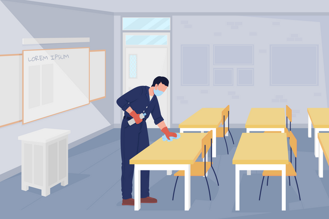 School janitor sanitizing classrooms after coronavirus pandemic Illustration