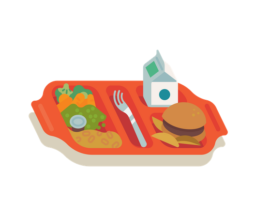 School meal with red plastic tray filled with food for school kids including milk, vegetables, fries and hamburger Illustration