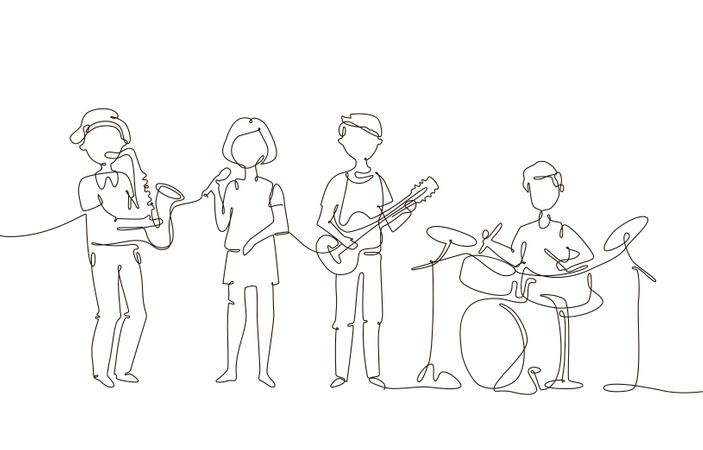 School Music Band Illustration