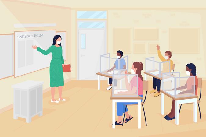 School situation after coronavirus pandemic Illustration