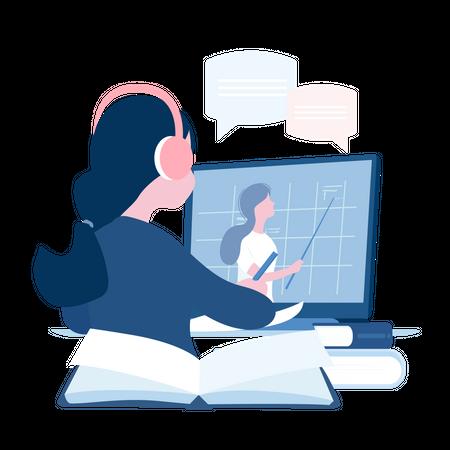 School student study at home on laptop Illustration