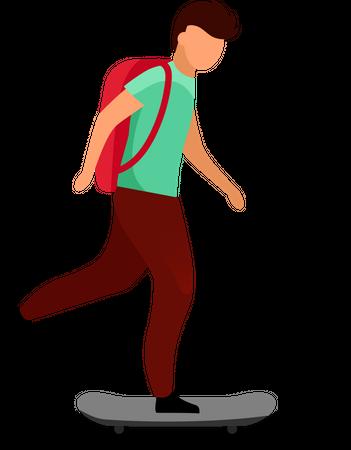 Schoolboy skateboarding Illustration