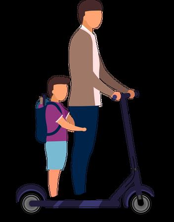 Schoolchildren riding scooter together Illustration