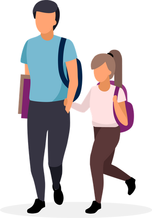 Schoolchildren walking Illustration