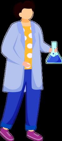 Science student in lab coat Illustration