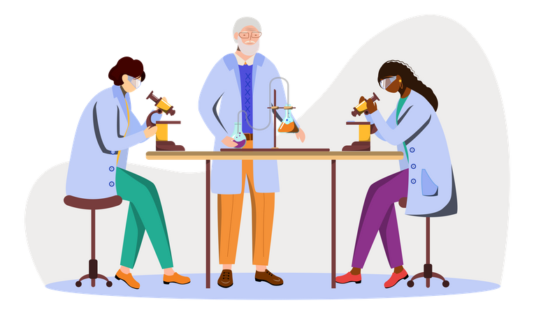 Science Students And Professor In Lab Coats Illustration