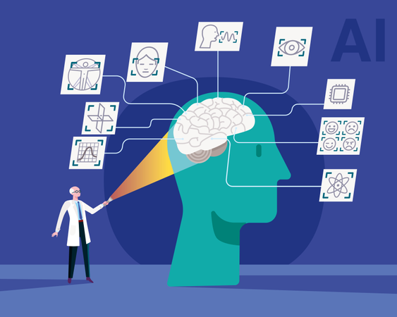 Scientific research in the human brain for studies to be applied in the development of artificial intelligence Illustration