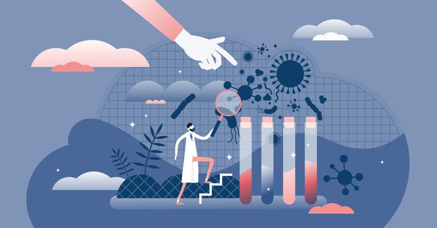 Scientific virus prevention study Illustration