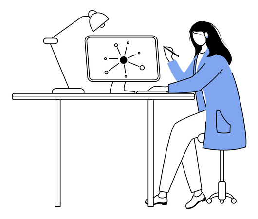 Scientist at working place Illustration