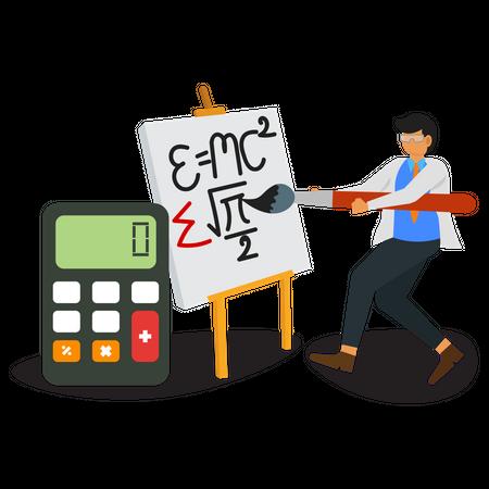 Scientist calculating formulas Illustration