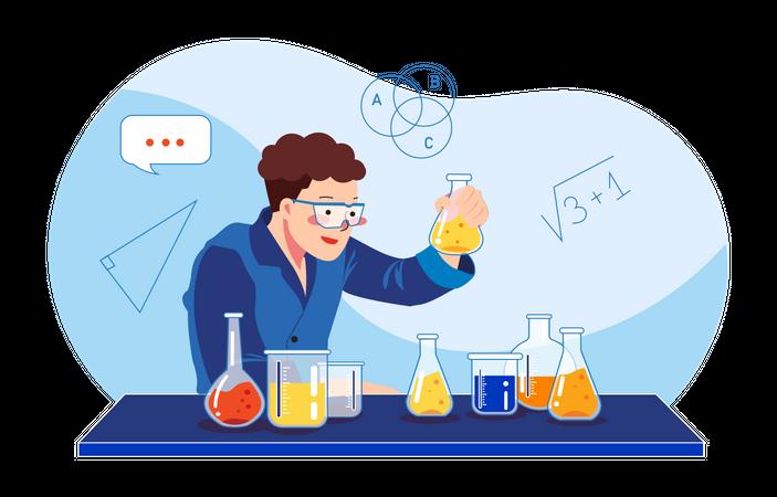 Scientist doing experiment Illustration