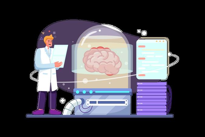 Scientist doing experiment on brain Illustration