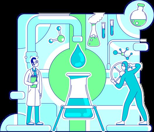 Scientist doing molecule analysis Illustration