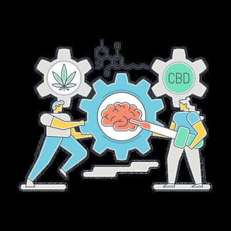 Scientist finding use of CBD oil Illustration