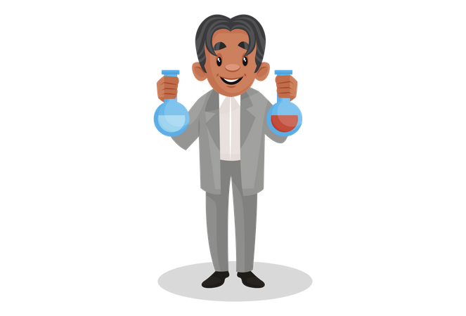 Scientist holding chemical flask in hands Illustration