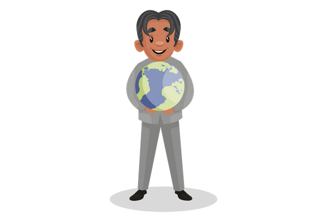 Scientist holding the globe in hands Illustration