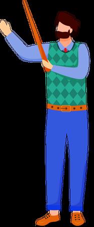 Scientist in blue lab coat Illustration