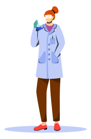 Scientist In Lab Coat With Protection Glasses Illustration