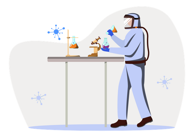 Scientist In Protective Suit Illustration