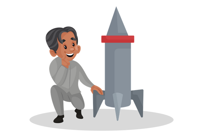 Scientist looking at the rocket and thinking Illustration